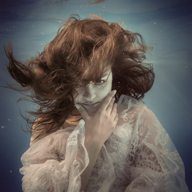 Lace of water and light by Dmitry Laudin - People Portraits of Women ( dress, hair, light, lace, underwater, dive, girl, portrait, darkness, swim )