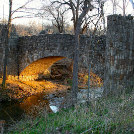 Unexpected Discovery  by Elizabeth Eaton - Buildings & Architecture Bridges & Suspended Structures ( park, sunset, bridges )