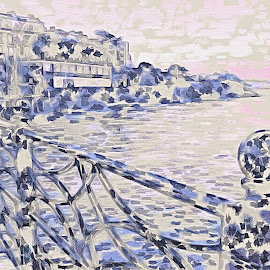Seafront promenade by Paula Palmer - Digital Art Abstract ( abstract, promenade, seaside, town, landscape )