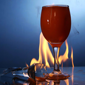 fire by Mervin Anto - Food & Drink Alcohol & Drinks ( pwcfireworks, tabletop, wine glass, fire )