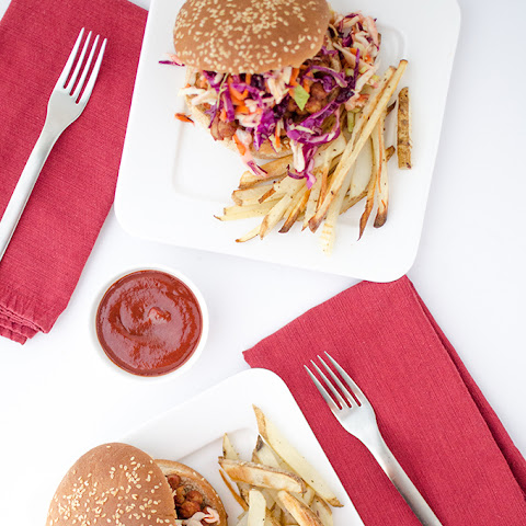 BBQ Chickpea Sandwiches with Rainbow Slaw