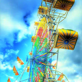 Ferris Wheel by Jessica Rose - Artistic Objects Industrial Objects ( ferriswheel, boldcolors, beauty, carnival, funtimes, colorful,  )