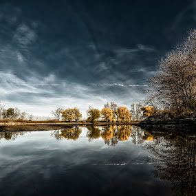 Reflections by Sarah Hauck - Backgrounds Nature ( clouds, reflection, seasonal, sky, nature, autumn, fall, trees, pond )