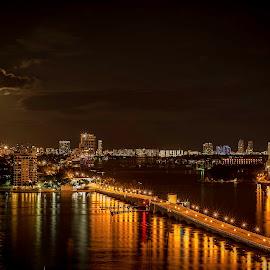 Moon over Miami Beach by Ken Wagner - City,  Street & Park  Skylines ( skyline, moon, florida, miami, night, bridge, nikon, nightscape )