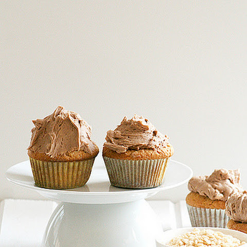 Peanut Butter Cupcakes with Krispie Chocolate Buttercream via Martha Stewart