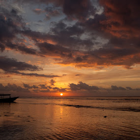 Sunset over Gili by Peter Podolinsky - Landscapes Waterscapes