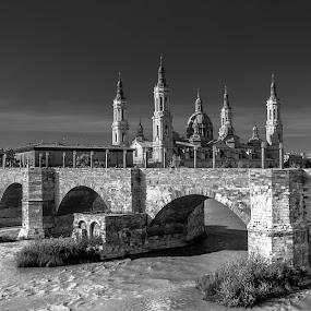 puente y basilica del Pilar, Zaragoza by Roberto Gonzalo Romero - Landscapes Travel ( puente, zaragoza, pilar )