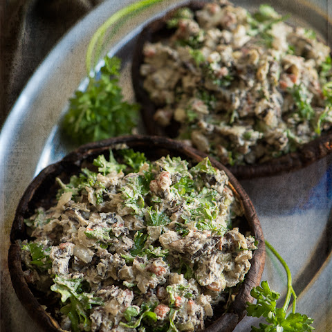Stuffed Mushrooms with Sunflower Seed Sage and Rosemary Cream