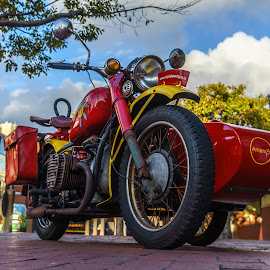 motorbike  by Peter Schoeman - Transportation Motorcycles ( ride, old, italian, motorbike, retro, road, race, bike, deliver, transport, drive, racing, moto, motorcycle, combat, driver, italy, scooter, isolated, vintage, sidecar, funny, moped, machine, history, red, delivery, fast, world )