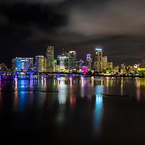 Miami Skylines by Marcin Frąckiewicz - City,  Street & Park  Night ( florida, miami, night, skylines )