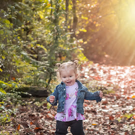 Sweet girl by Jenny Hammer - Babies & Children Children Candids ( running, toddler, fall, leaves, baby, sweet, girl )