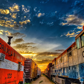 Sunset at the Depost by Paul Downs - Instagram & Mobile Android ( train )