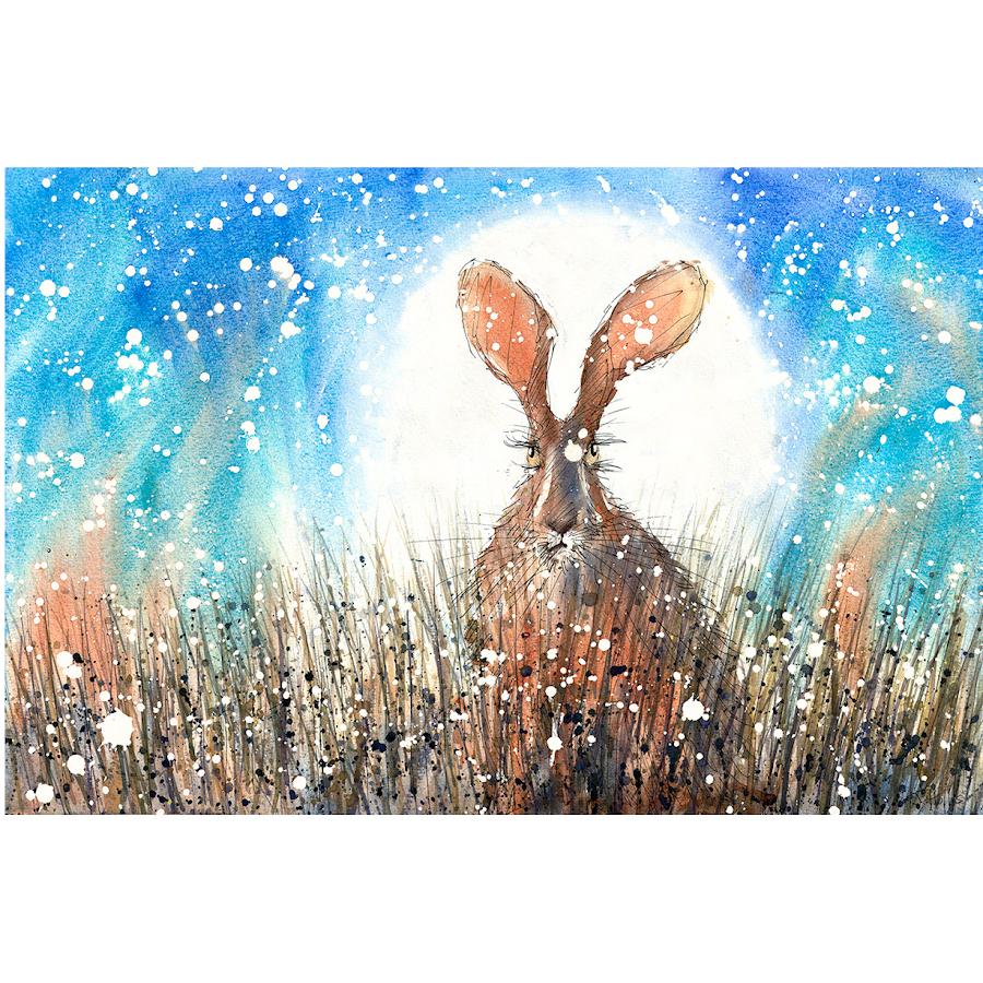 Moon hare art print christmas rabbit painting