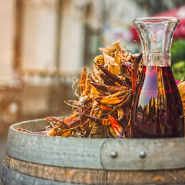 Of autumn by Roberto Sorin - Food & Drink Alcohol & Drinks ( festive, red wine, wood, maize, pepper, leaf, corn, setting, farm, autumn, drink, gold, place, gourmet, meal, wine, orange, carafe, fruit, decoration, colors, agriculture, wine-barrel, traditional, delicious, thanksgiving, table, holiday, hot pepper, dinner, organic, season, food, background, fall, healthy, eat, harvest, celebration, vegetable, barrel, flagon,  )