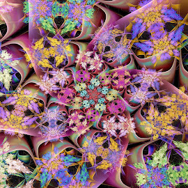 Complex Spiral by Peggi Wolfe - Illustration Abstract & Patterns ( abstract, wolfepaw, complex, jwildfire, gift, unique, bright, illustration, spiral, fun, digital, print, décor, pattern, color, unusual, fractal, rainbow )