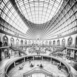 Leeds Corn Exchange by Adam Lang - Black & White Buildings & Architecture ( leeds, building, lines, architecture, leeds corn exchange )