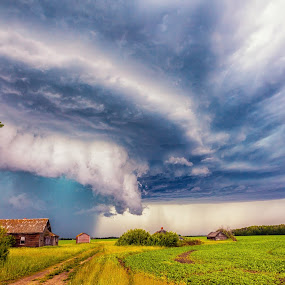 A storm Approches by Drew May - Landscapes Weather ( weather and seasons, clouds, farm, canada, alberta, summer, storm, landscape, tornado, fields )