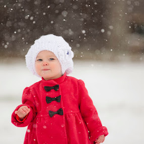 Snow Bunny by Kristen VanDeventer Rice - Babies & Children Child Portraits ( girl, red, winter, snow, white, coat, hat )