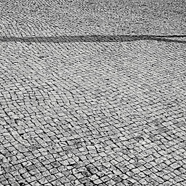 Sombra empedrada by Luis Almeida - Abstract Patterns ( abstract, black and white, street, people )
