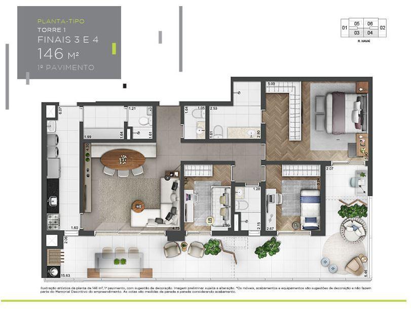 Planta Tipo - 1º andar - 146 m²