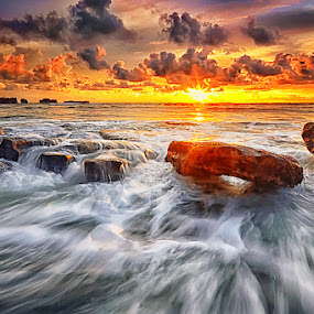 by Hendri Suhandi - Landscapes Waterscapes ( sunset, cloud, sea, ocean, sunrise, beach, motion, melt )