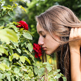 Time out by Angela Taylor - People Street & Candids ( life, roses for days, smells, roses, daughter, gardens, summertime,  )