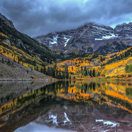Marooned by Casey Mitchell - Landscapes Mountains & Hills ( mountains, autumn, snow, fall, colorado, reflections, lake, sunrise, pond )