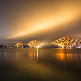Golden bridge lighting up the sky by Reiver Iron - Buildings & Architecture Bridges & Suspended Structures ( scotland, river forth, edinburgh, iconic, forth rail bridge )