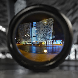 Through my eyes titanic belfast by Danny Charge - Buildings & Architecture Public & Historical ( colour, building, ireland, night view, black and white, wide angle, belfast, buildings, night, tourism, places, night shot, filter )
