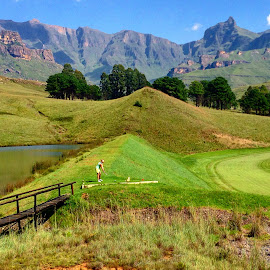 by Dave Wickham - Landscapes Mountains & Hills ( mountain golf lake )