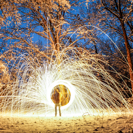 Snowfire by Brian Box - Abstract Light Painting ( steel wool, snow, night, long exposure, arkansas )