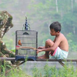 with my bird early morning by Adam Bishawa - Babies & Children Children Candids