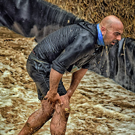Fighting With A Cramp ! by Marco Bertamé - Sports & Fitness Other Sports ( water, muddy, differdange, blue, strong, 2015, brown, cramp, soup, strongmanrun, man, luxembourg )