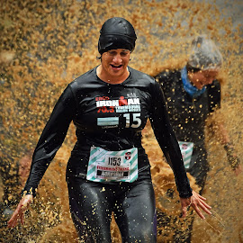 Ironwoman ! by Marco Bertamé - Sports & Fitness Other Sports ( water, iron woman, splatter, splash, differdange, cap, 2015, number, soup, running, escape, iron, 1§5, luxembourg, muddy, strong, woman, determined, 1153, lady, grimace, brown, strongmanrun )