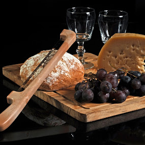 Bread and cheese by Cristobal Garciaferro Rubio - Food & Drink Ingredients ( glass cups, cups, bread, cheese, knife )