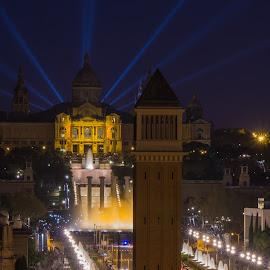 MNAC by Martin Vanek - City,  Street & Park  Skylines ( lights, skyline, mnac, magic fountain, night, plaza espana, barcelona )