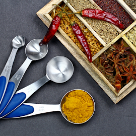 Spices by Dipali S - Food & Drink Ingredients ( diversity, healthful, aromatic, appetizing, colorful, spice, powder, indian, kitchen, delicious, tasty, seasoning, fragrant, season, herb, food, hot, healthy, ingredient, freshness, additives )
