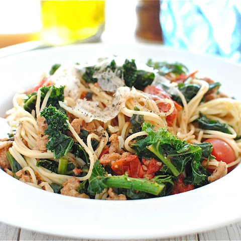 Angel Hair with Chicken Sausages, Tomatoes and Kale