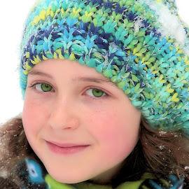 Blue/Green Hat by Sandy Considine - Babies & Children Child Portraits ( green eyes, beret, brown hair )