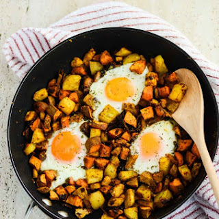 Curried Sweet Potato Hash with Eggs