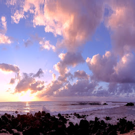 Tropical Sunset by Jim Downey - Landscapes Travel ( sunset beach, clouds for coloring, island delight, hawaii )