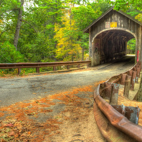 Babb's Bridge by Tom Whitney - Buildings & Architecture Public & Historical ( hdr, autumn, horizontal, fall, trees, bridge, rust, covered,  )