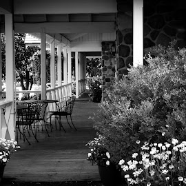 The Inn at Chico Hot Springs by Emily Melody - Buildings & Architecture Office Buildings & Hotels ( flowers, veranda, porch )