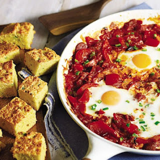 Tomato And Spicy Sausage Baked Eggs With Cornbread