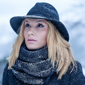 Engrossing Moments by Sorin Bogdan - People Portraits of Women ( music, blonde, winter, cold, woman, snow, frozen, hat )