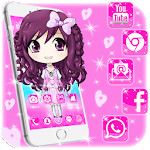 Cute Pink Baby Girl Cartoon Theme Icon