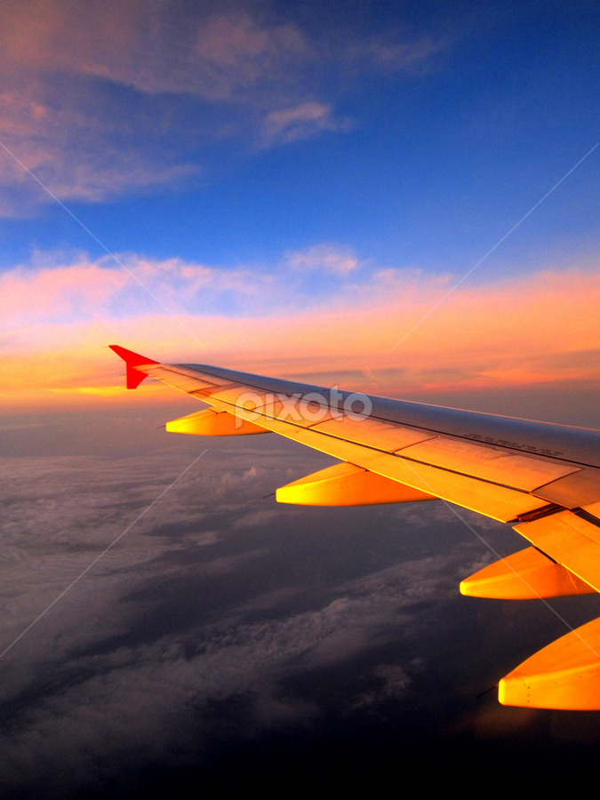 Sunset in the plane by Jules Jal - Transportation Airplanes ( plane, sunset )