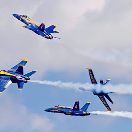Blue Angels Diamond Break by Peggy Zinn - Transportation Airplanes ( national cherry festival, fa18, fighter jet, us navy, blue angels )