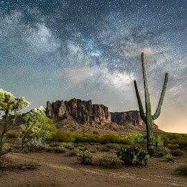 Superstition Milky Way by Ed Mullins - Landscapes Mountains & Hills ( milkyway, night photography, night scene, superstition mountains, superstitions, lost dutchman state park, starscape, nightscape, milky way,  )