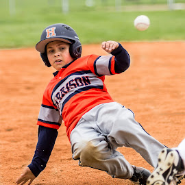 Stealing 3rd! by Melissa LaGuire - Sports & Fitness Baseball ( steal, baseball, sports, kids, youth )